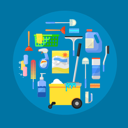 Cleaning tools concept banner flat vector illustration Illustration