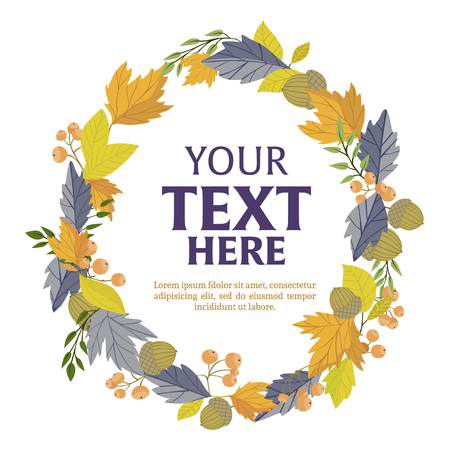 wind down: Floral wreath of autumn leaves vector illustration