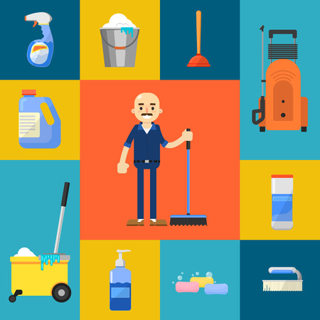 wipe: Cleaning tools icon set flat vector illustration