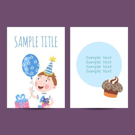 postcard template: Happy birthday kids postcard template vector holiday illustration
