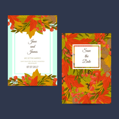 wind down: Design layout invitation of autumn leaves and flowers vector illustration Illustration