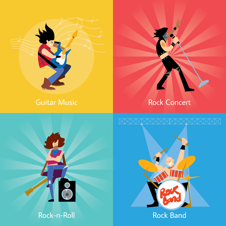 Rock band music group with musicians concept of artistic people vector illustration  イラスト・ベクター素材