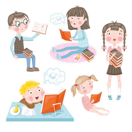 Funny children make lessons cartoon vector illustration