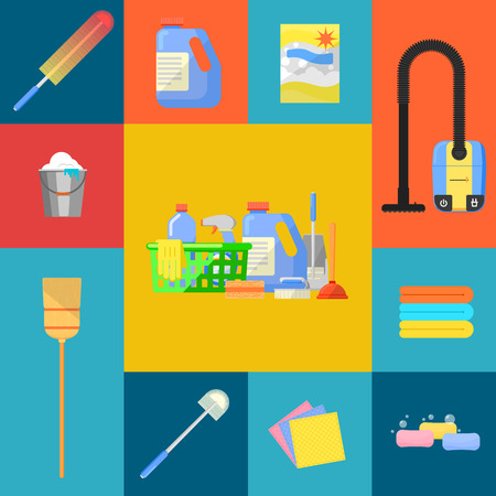 squeegee: Cleaning tools icon set flat vector illustration