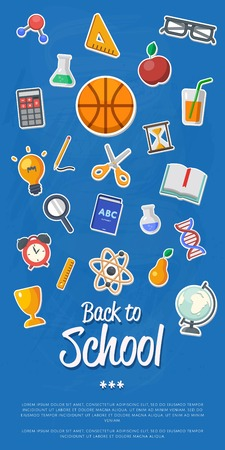 arts symbols: Back to school banner with flat vector icons. Vector flat Illustration. Arts and science stickers. Education concept. School symbols.