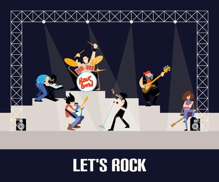 grupo de música de la banda de rock en concierto en el escenario con músicos concepto de ilustración artística personas del vector