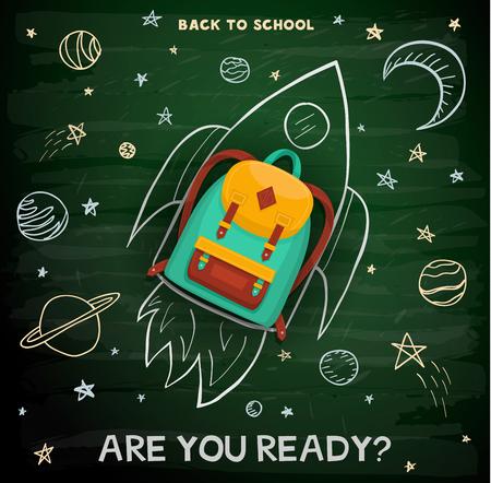 Back to school creative concept background. School backpack on rocket. Education sketch on school chalkboard. Vettoriali