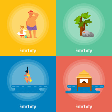 little girl beach: Summer holidays vector illustration. Father with little son near sea. Seascape with water bungalow. Girl jumping into sea, swimming girl. Natural landscape with palm and stones. Beach activities.