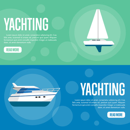 speedboat: Yachting vector illustration. Sailing yacht on green background. Speedboat on blue background. Summer vacation. Travel concept. Racing yacht. Cruise vacation. Website template. Flat design banner Illustration