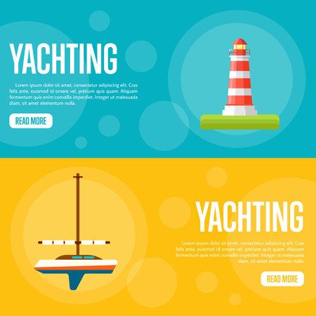 yachting: Yachting vector illustration. Sailing yacht on orange background. Striped lighthouse on blue background. Summer vacation. Travel concept. Racing yacht. Website template. Flat design banner