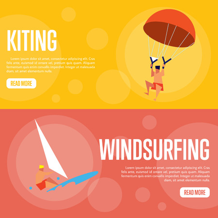 kiting: Kiting and windsurfing vector illustration. Surfer riding on waves on red background. Man kiting with parachute on orange background. Extreme sea sports. Summer vacation. Flat design banner