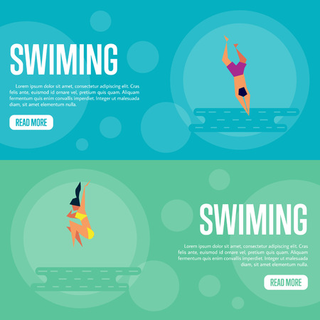 swiming: Swiming vector illustration. Man jumping into sea, swimming man on blue background. Girl jumping into sea, swimming girl on green background. Summer rest. Website template. Flat design banner