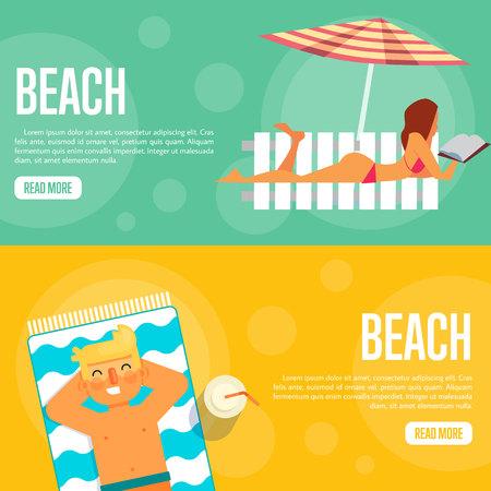 sexy man: Beach vector illustration. Sexy girl sunbathes on beach under umbrella on green background. Man sunbathes on beach on orange background. Summer holidays. Website template. Flat design banner Illustration