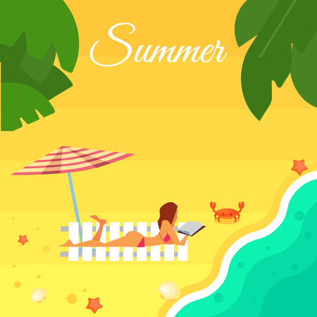 palm reading: Summer banner vector illustration. Sexy girl in red swimsuit sunbathes on beach under striped umbrella. Sand beach with sea crab, palm leaves and starfish. Summer background. Natural landscape Illustration