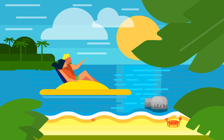 couple in summer: Summer banner vector illustration. Seascape with couple on yellow water bike. Summer beach with sea crab, palm trees and sunset. Tropical scenery. Natural seascape. Summer vacation