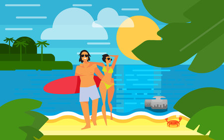 happy couple beach: Summer banner vector illustration. Young happy couple with red surfboard walking on sand. Summer beach with sea crab, palm trees and sunset. Tropical scenery. Natural seascape. Summer time