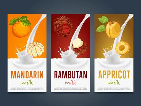 mandarin: Fruits milkshake splash dessert cocktail drink with mandarin, rambutan, apricot banners set vector illustration