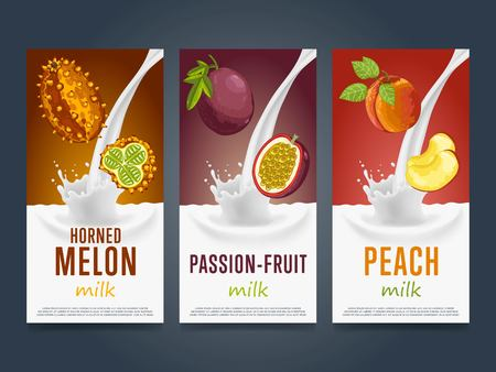 passion fruit: Fruits milkshake splash dessert cocktail drink with horned melon, passion fruit, peach banners set vector illustration Illustration