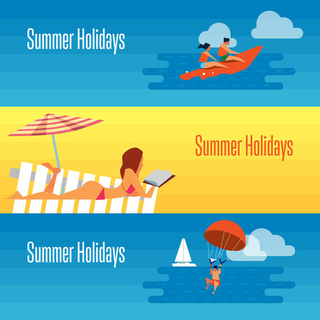 sexy man: Summer holidays banner vector illustration. Sexy girl sunbathes on beach under the sun. Seascape with people on banana boat and man with parachute. Concept of holiday at sea. Beach activities. Illustration