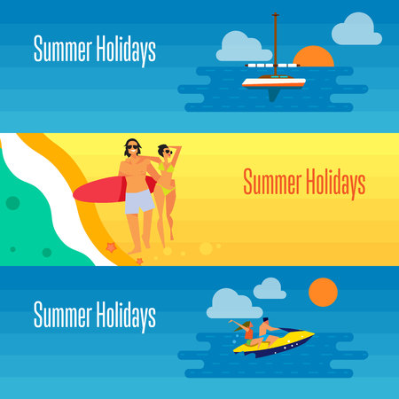 ski walking: Summer holidays banner vector illustration. Young happy couple walking on beach. Seascape with yacht, sunset and couple riding jet ski. Boating, beach activities, water ski. Concept of holiday at sea