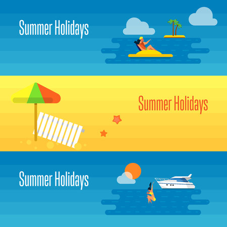 couple beach sunset: Summer holidays banner vector illustration. Sun lounger and beach umbrella on sand. Seascape with yacht, sunset, swimming girl and couple on water bike. Concept of holiday at sea.