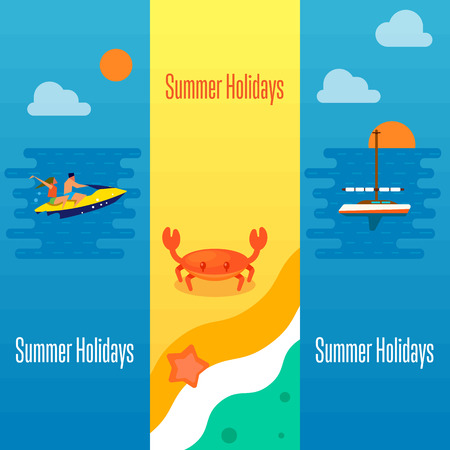 couple beach sunset: Summer holidays banner vector illustration. Sea crab and starfish on beach. Seascape with yacht, sunset and couple riding jet ski. Boating, beach activities, water ski. Concept of holiday at sea.