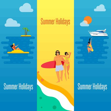 happy couple beach: Summer holidays banner vector illustration. Young happy couple walking on beach. Seascape with yacht, sunset, swimming girl and couple on water bike. Concept of holiday at sea.