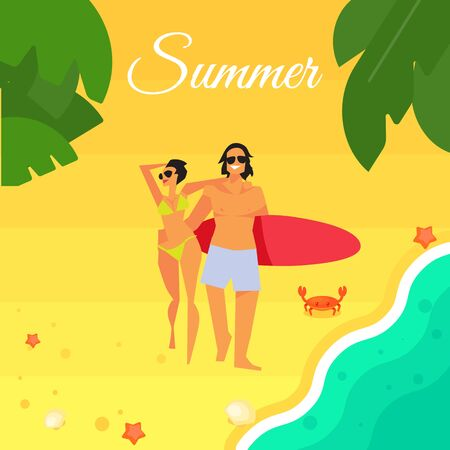 young happy couple: Summer banner vector illustration. Young happy couple with red surfboard walking on beach. Sand beach with sea crab, palm leaves and starfish. Summer background. Natural landscape. Summer fun