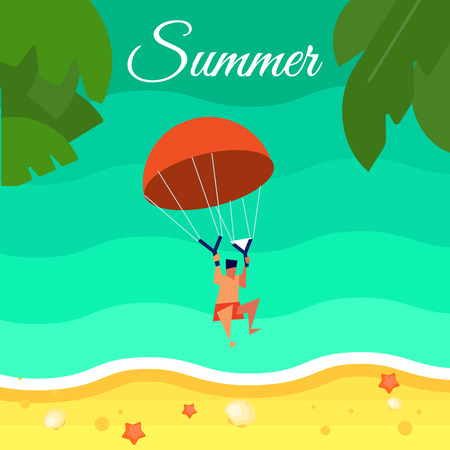 Summer background, vector illustration. Kiting man with red parachute flying above water. Sand beach with palm leaves and starfish. Natural landscape. Concept of holiday at sea. Extreme sea sports Illustration