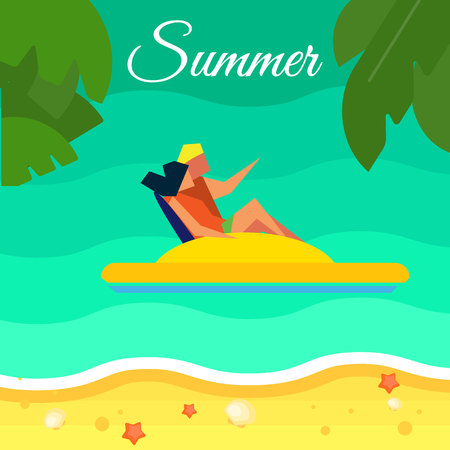 happy couple beach: Summer background, vector illustration. Happy couple on yellow water bicycle in water. Sand beach with palm leaves and starfish. Natural landscape. Summer fun. Sea time. Outdoor leisure