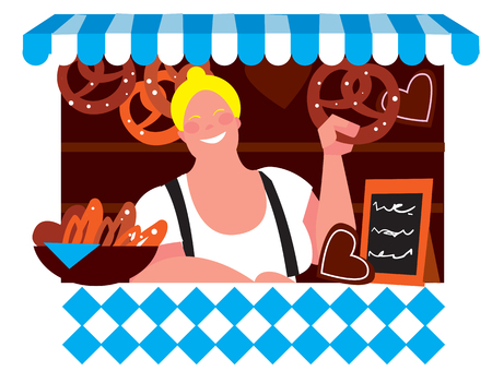 bavarian girl: Oktoberfest girl in traditional dirndl dresses with pretzel isolated on white background. Autumn beer festival in Munich, Germany. Vector illustration.