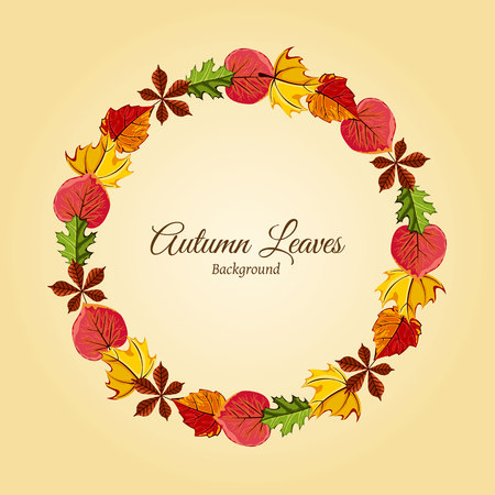 Wreath of autumn leaves vector illustration. Autumnal round frame. Background with hand drawn autumn leaves. Design elements. Illustration