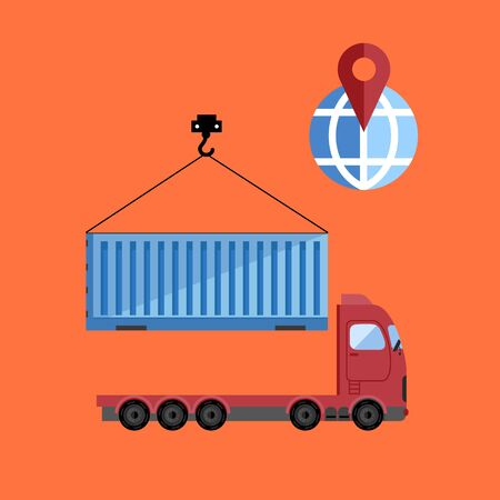 Container truck isolated icon on flat vector design Illustration