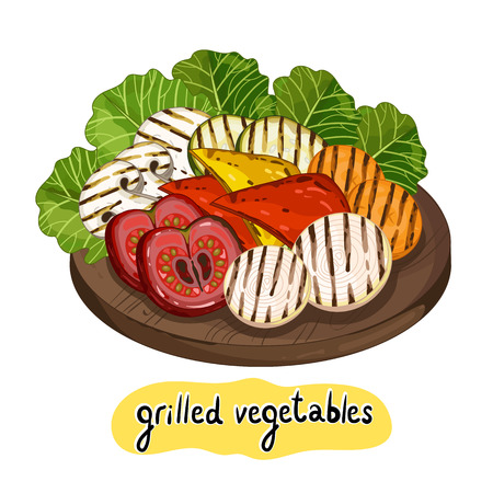 Grilled vegetables on cutting board isolated on white background vector illustration. Roasted veggie food. Assorted vegetables barbecue. Illustration