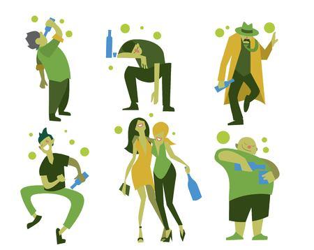 alcoholismo: gente borracha, hombres y mujeres en diferentes situaciones aisladas en el fondo blanco ilustraci�n vectorial. Concepto del alcoholismo.