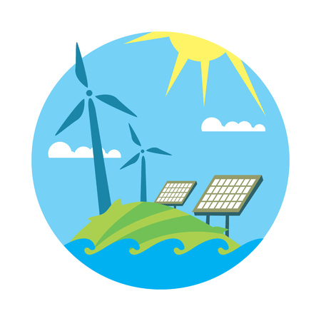 Renewable energy, round vector illustration. Wind turbines and solar panels in green field under the sun and blue sky. Modern alternative energy generation. Eco technologies. Clean resources.