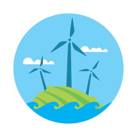 renewable resources: Wind power, round vector illustration. Wind turbines in green field on background of blue sky. Ecological types of electricity. Natural landscape. Eco generation. Renewable resources concept.