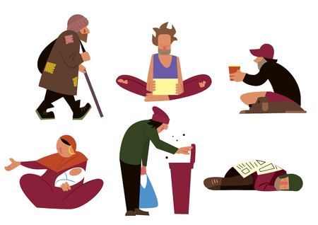 Homeless people, tramps, beggars and panhandlers characters isolated on white background vector illustration