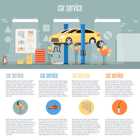car tire: Infographics of scene presents workers in car service tire service and car repair vector illustration
