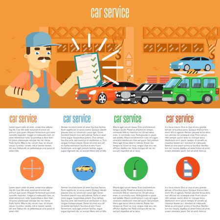 Infografía de escena presenta los trabajadores de servicio de neumáticos servicio de coche y la ilustración vectorial de reparación de automóviles