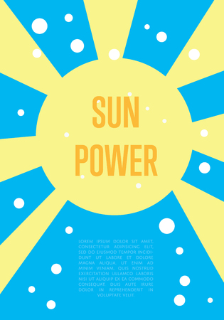 renewable resources: Sun power banner. Abstract vector illustration with yellow sun and rays on blue background. Renewable resources concept. Eco generation