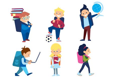 schoolgirls: Little schoolchildren set. Schoolboys and schoolgirls with schoolbags and other different school supplies. Pupil with a globe, ball, books, laptop. Smiling school character in flat. Illustration