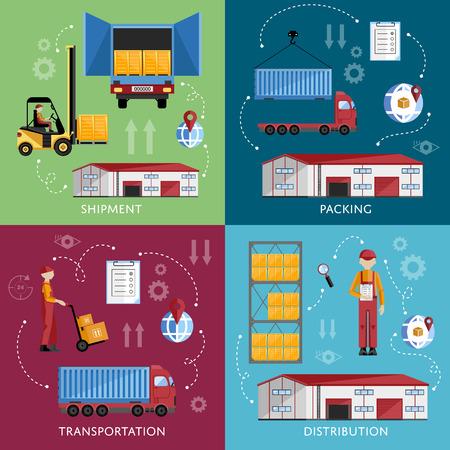 Warehouse management concept flat ontwerp vector illustratie. Verzending en levering banners set. Warehouse proces infographics. Porter op een vrachtwagen om de goederen verzenden. Vector Illustratie