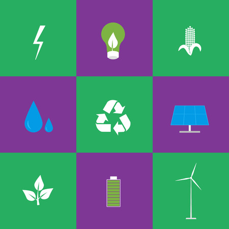 alternative energy sources: Green energy and recycling vector icons set suitable for info graphics, websites and print media. power and ecological symbols on green and purple background. Eco elements collection. Illustration