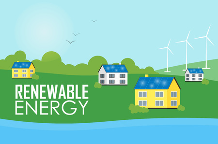 the settlement: Renewable energy vector illustration. Eco settlement near river. Houses with blue solar panels on the roof. White wind generator turbines. The production of energy from the sun and wind.
