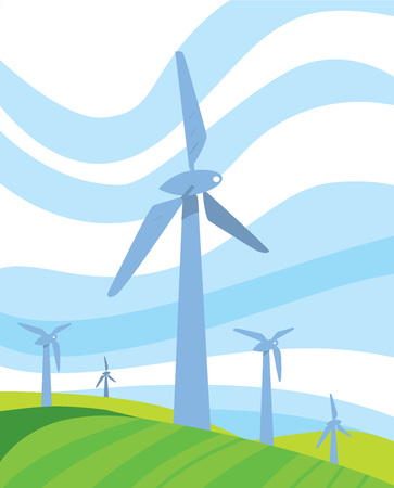 windfarm: Clean energy vector illustration. Wind turbines in green field on background of blue wavy sky. Windfarm poster. Windmills for electric power production. Eco generation. Renewable resources concept.