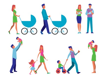 Illustration set married couple with children in different situations. Happy parents walking with stroller, playing with children, parents walking with children, little newborn on parent arm.