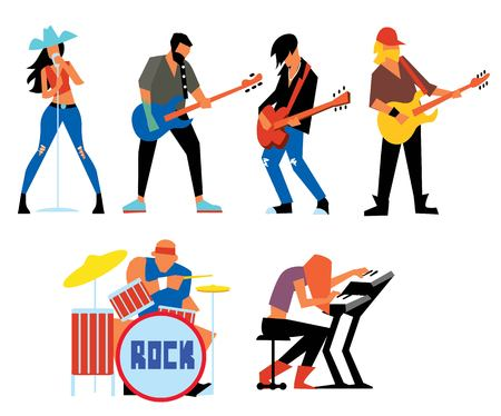 Musicians rock group isolated on white background. Singer, guitarist, drummer, solo guitarist, bassist, keyboardist. Rock band. Vecor illustration. Ilustrace