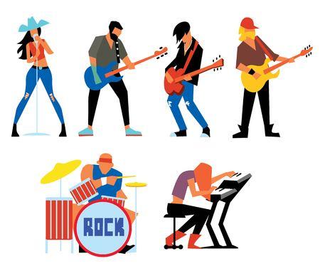 Musicians rock group isolated on white background. Singer, guitarist, drummer, solo guitarist, bassist, keyboardist. Rock band. Vecor illustration. Illustration