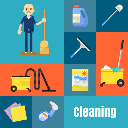 Cleaning tools icon set flat vector illustration